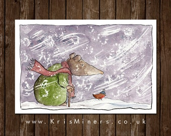 Whimsical Blizzard and Shrew Christmas Greetings Card | by Kris Miners