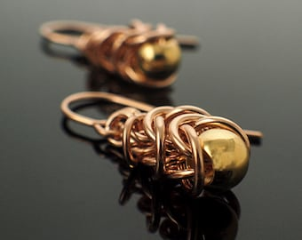 14kt Yellow or Rose Gold Filled Chainmaille Earrings in Graduated Box Weave
