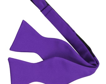 New Men's Solid Purple Self-Tie Bowtie, for Formal Occasions
