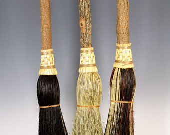 Round Fireplace Broom in your choice of Natural, Black, Rust or Mixed Broomcorn - Besom Style Hearth Broom