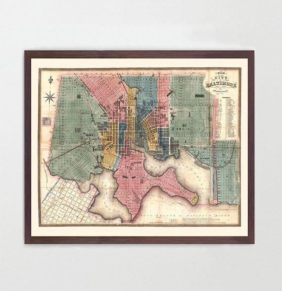 Baltimore Map - Antique Map - Archival Reproduction - Baltimore Art - Baltimore Poster - Maryland - City Map - Baltimore Maryland