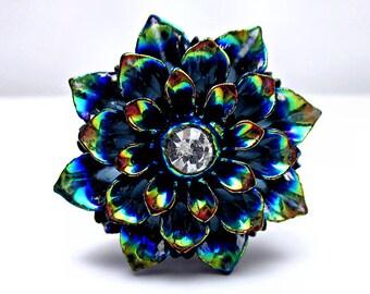 Rainbow Black Flower Ring; Black Resin Flower Ring; Adjustable Silver Ring; AB Black Ring; Rainbow Rhinestone Ring; Handmade Flower Jewelry