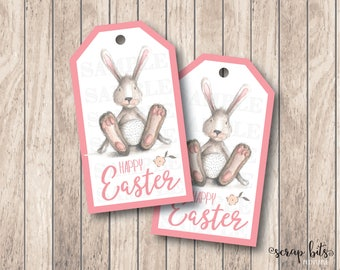 Watercolor Bunny Easter Tags, Happy Easter Bunny Tags, Printable Happy Easter Tags, Instant Downloand