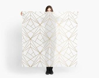Geometric Gold Pattern Scarf, Wedding Shawl, Bohemian Scarf, Gold Scarf, Mandala Scarf, Girlfriend Gift, Boho Mandala Shawl,Large Gold Scarf