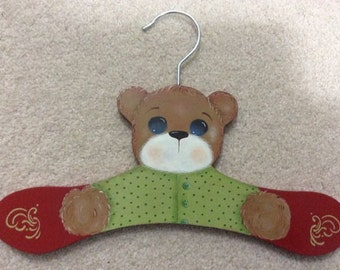 Painted Bear Coathanger for Child or Baby
