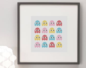 Pacman Ghosts Cross Stitch Pattern, Instant Download, Nerdy, Gaming