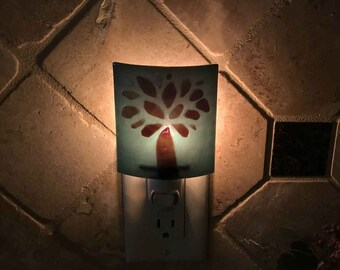 Night Light, Dusty Blue with Brown Tree Design, Art Glass, Wall Plug In