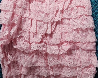 Pink Lace Romper Large 18/24M