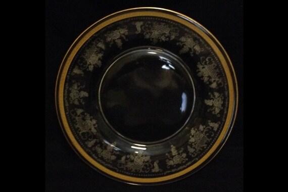 "FREE SHIPPING-Elegant-1920's-Fostoria Glass Co.-Delphian-Etched-Duchess-Gold-Trim-Crystal-Luncheon/Salad/Dessert Plate-8 1/2"""