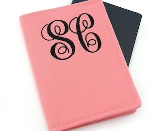 2 Letter Personalized Monogram Passport Cover, Embroidered Passport Cover Passport Case, Travel Gift, gift for her