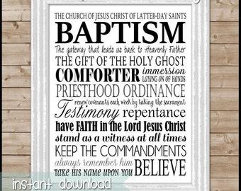 LDS BAPTISM Subway Art, Print or Sign, Convert Gift - Printable Instant Download