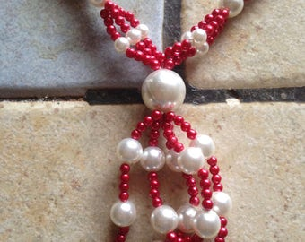 Handmade Cherry Red and White Pearl Necklace