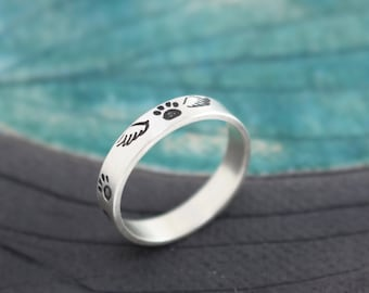 Pet Memorial personalized sterling silver ring