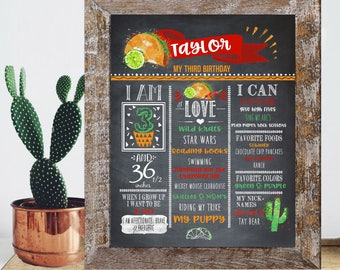 Taco 3rd Birthday Sign - Chalkboard Orange and Green Cactus - Third Birthday - Custom Printable Download