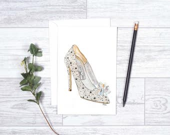 "Cinderella Jimmy Choo Shoe - Note Cards - 4""x6"" - Jimmy Choo - Shoe Lover - Cinderella - Glass Slipper - Bridal Shoe - Swarovski Crystal"
