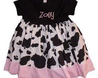 Personalized Cow Dress, Farm Cow Dress, Embroidered Cowgirl Dress, Cow Print Dress