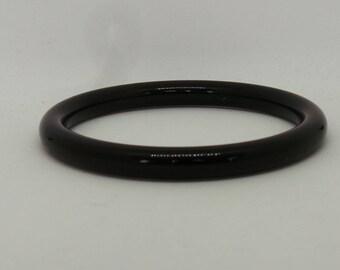 Black plastic tube bangle, vintage ladies bangle or bracelet