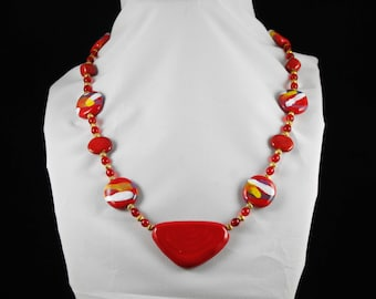 Red & Multicolor Kazuri with Pendant Necklace