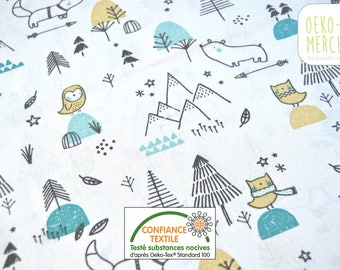 Animal fabric and mountains - bears, owls, foxes - yellow and Mint - 100% cotton oeko-tex