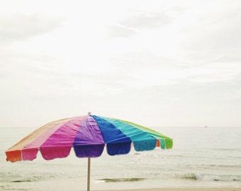 Beach Photography Print | Nautical Coastal Decor | Pastel Striped Beach Umbrella | Ocean Art | Beach Wall Art Print | Beach House Wall Decor