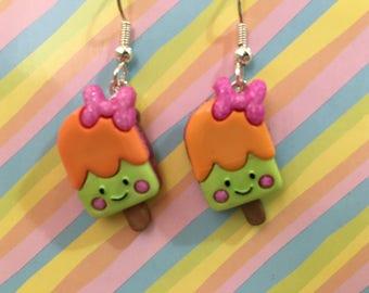 Happy Orange Sherbet Popsicle Bars Dangle Earrings