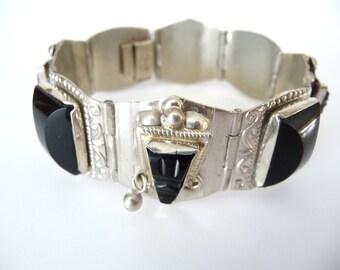 Mexican Carved Obsidian Mask Link Bracelet Silver from TreasuresOfGrace