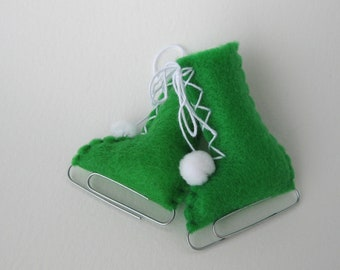 Apple Green Felt Christmas Ornaments Ice Skate Home Decor Eco-Friendly