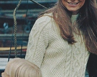 Vintage Aran Knit Pullover PDF Pattern