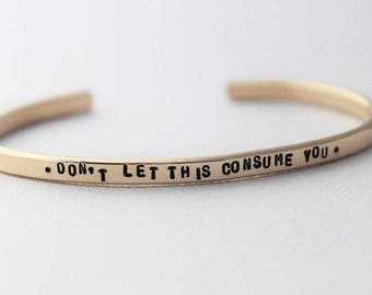 inspirational quote gold cuff bracelet, personalized jewelry, motivational gift for her, stacking gold cuff bracelet