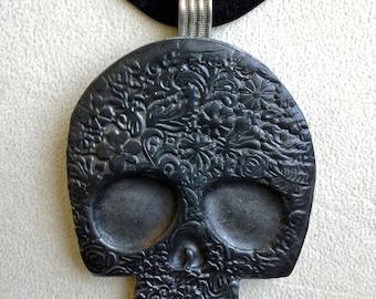 Black Silver Sugar Skull Pendant Day of the Dead Halloween Necklace