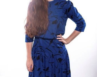 Blue Drop Waist Patterned Dress