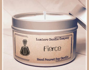 FIERCE Scented Soy Candle Tin, Scented Soy Candles, Hand Poured Soy Candles, Soy Candles Handmade, Candle Tin