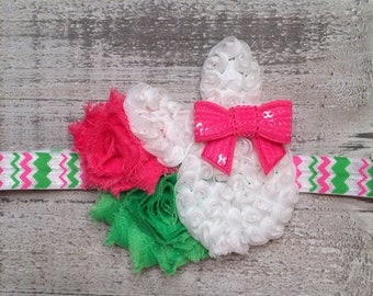 READY TO SHIP Pink, White and Lime Green Bunny Headband.  Pink Easter Headband. Baby's First Easter.