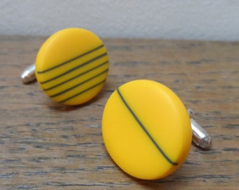 Resin cufflinks - yellow with charcoal stripes