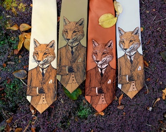 Tie - Dapper Fox Necktie - Birthday Gift Men - Men's Fox Tie - Groomsmen Necktie - Fox Art - Men's Gift - Screen Printed Necktie