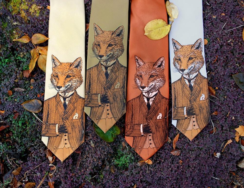 Tie - Dapper Fox Necktie - Birthday Gift Men - Men's Fox Tie - Groomsmen Necktie - Fox Art - Men's Gift - Screen Printed Necktie