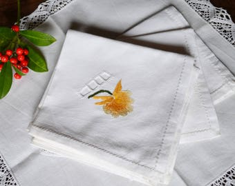 Embroidered Napkins Cotton Vintage Embroidered Country Flowers