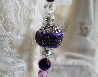 Purple and Silver Sun Catcher and Window Decoration  One of a Kind  Handmade Colorful