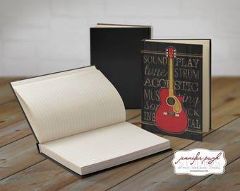Guitar 5x7 Hardback Bound Journal -Inspirational, Word Art -Black Gold Red