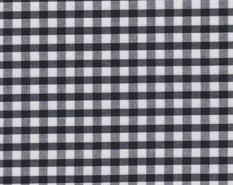 Carly BLACK Mini Checkered Gingham Poly Cotton Fabric by the Yard - 10114