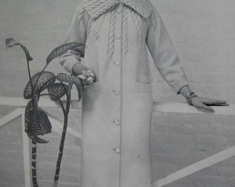 1960's Vintage Knitting PDF Pattern Women's Coat 732-30