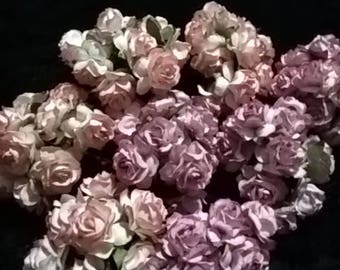 Paper Roses Two Tone Pink Wild Roses Scrapbooking Bridal Bouquet Flower Deco 25mm 80 Pieces
