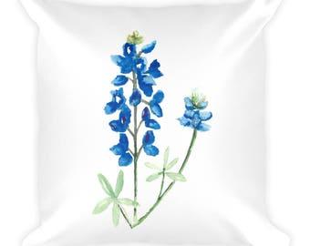 Watercolor Bluebonnets Square Pillow