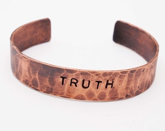 Oxidized Copper Cuff / Personalized Bracelet / Truth / 7th Anniversary Gift