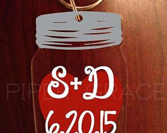 Mason Jar Keychain with Heart, Initials and Date