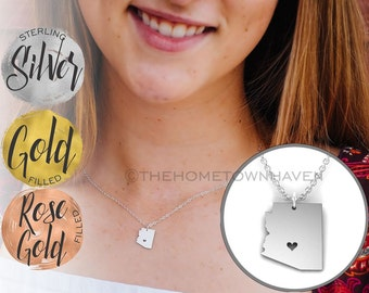 Arizona Necklace, Arizona state map necklace, Silver Gold and Rose gold available