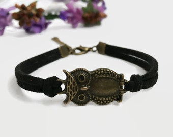 Bronze owl bracelet Black owl bracelet Women owl jewelry Brass owl bracelet  Owl accessories for her