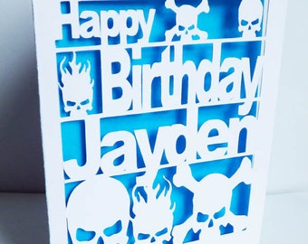 Skull Birthday Card, Skull Greetings Card, Card Cut Out Recycled Birthday Card, Colour insert, Personalised Birthday Card, Personalised Card