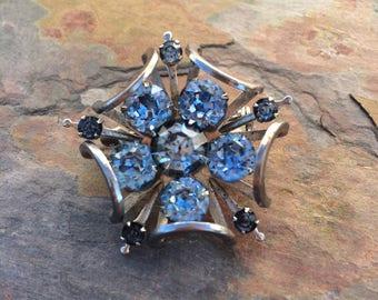 Vintage blue rhinestone flower/snowflake brooch-vintage costume jewelry-mid century jewelry