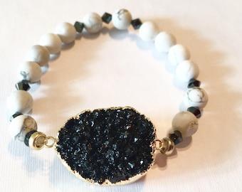 1 Boho bracelet , hippie bracelet , boho jewelry , stretch bracelet , druzy bracelet , bisutería,